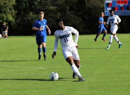 Pair of second half goals by Camden County College sinks New Jersey men's soccer team as Cougars slip by Knights 2-1 on Tuesday afternoon