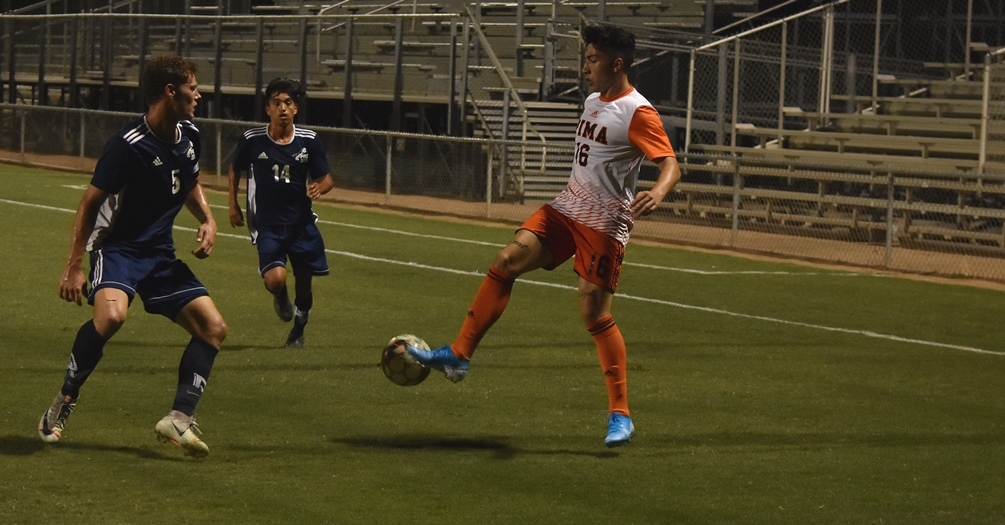 Freshman Taye Bunda was one of eight goal scorers for the No. 3 Aztecs men's soccer team on Saturday. They beat South Mountain Community College 13-0 at Kino North Stadium to improve their record to 3-0-1 on the season. Photo by Ben Carbajal