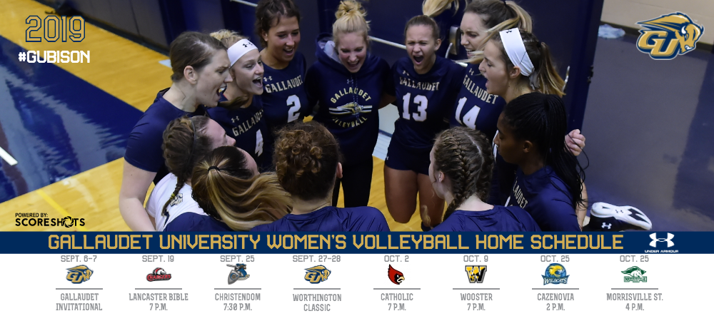 2019 Gallaudet University women's volleyball schedule graphic. GU will have eight home dates in the Field House this season. A group photo of Bison players gather together.