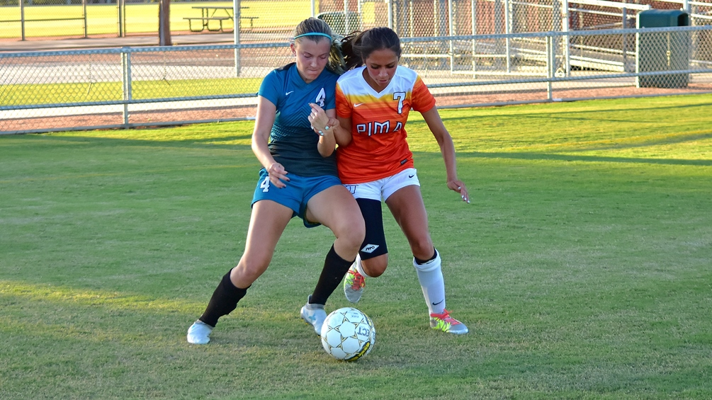 Sophomore Paola Ruedaflores (Nogales HS) put the Aztecs ahead with a goal in the 52nd minute but the Aztecs ran out of energy in their 2-1 loss to Paradise Valley on Tuesday at Kino. The Aztecs are 1-2 on the season. Photo by Ben Carbajal 2017