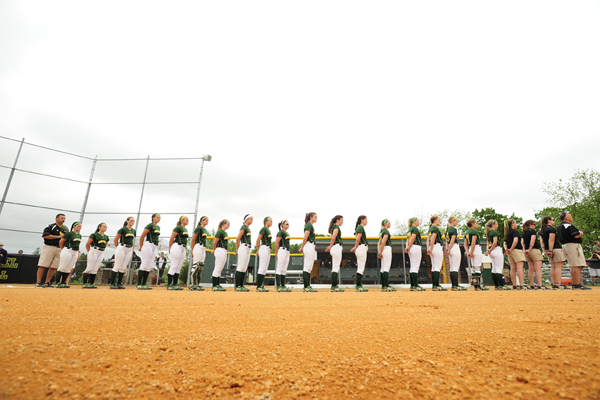 The team lines up for the national anthem before the CC title game. © 2012 David Sinclair/McDaniel College