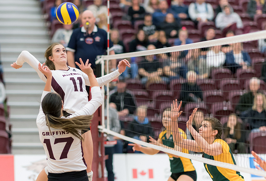 McKenna Stevenson gets a quick-hitter off in the middle against Alberta earlier this season. On Saturday, she was the Griffins' best player with eight kills and 10 blocks (Chris Piggott photo).