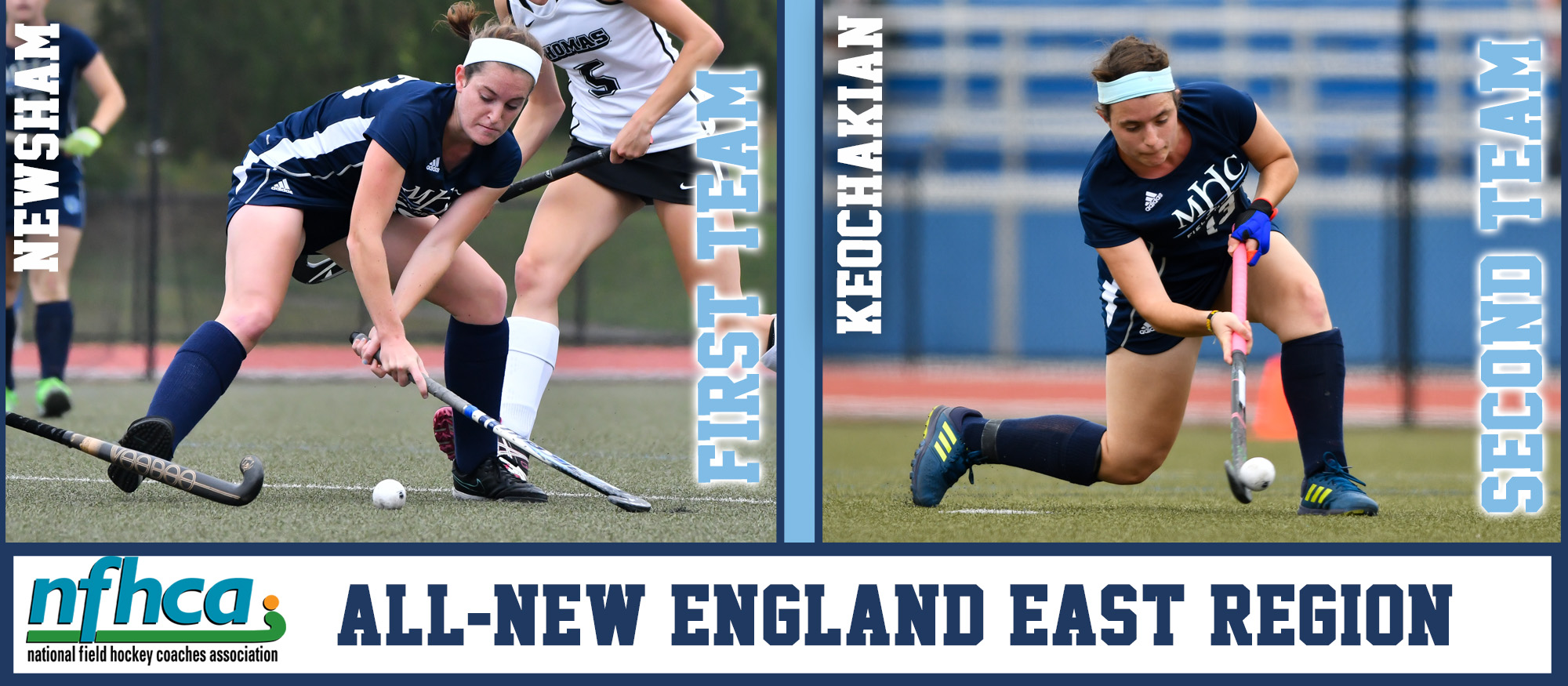 Graphic promoting the 2018 All-Region Field Hockey selections, Colby Newsham and Mirjam Keochakian