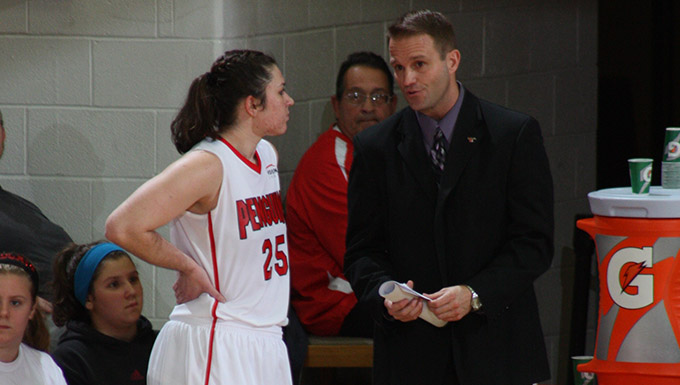 YSU Head Women's Basketball Coach John Barnes with Morgan Olson