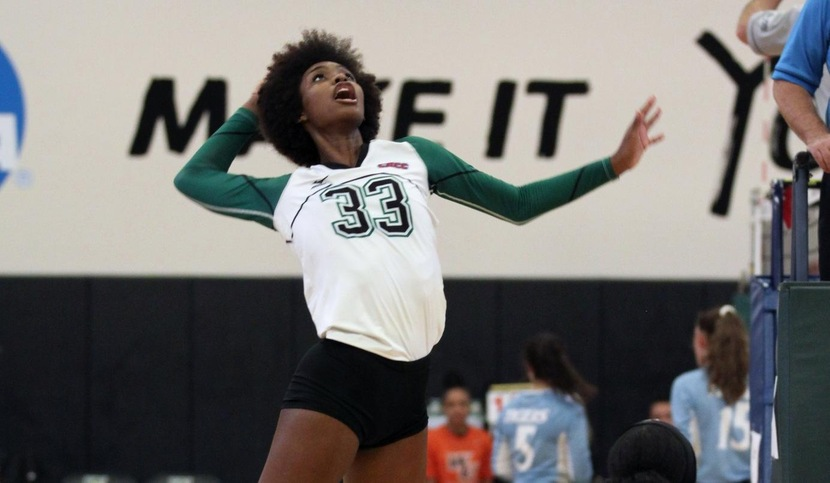 Copyright 2018; Wilmington University. All rights reserved. Photo of Bailey Andrews who totaled 21 kills on Friday. Photo by Dan Lauletta. September 7, 2018 vs. Merrimack (WU Invite)
