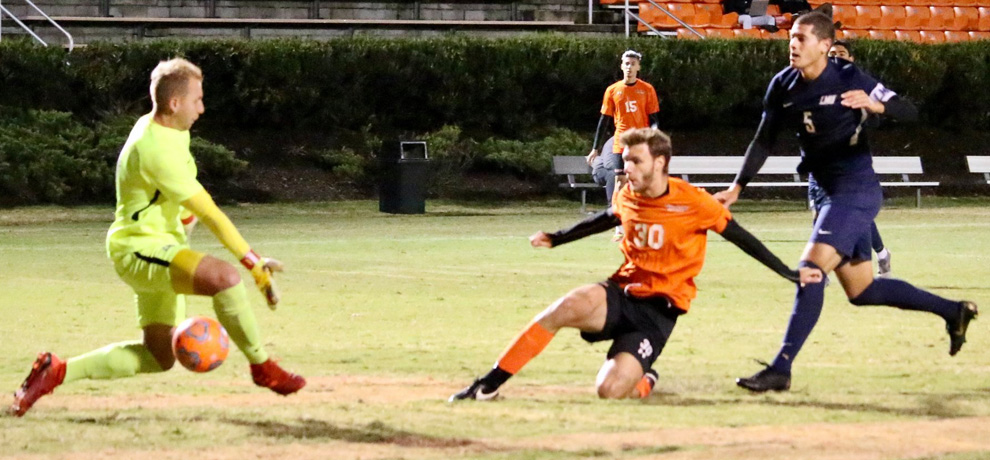 Nikola Vujicic scores his fourth goal of the season early in the second half against Lincoln Memorial (photo by Mikala Brown)