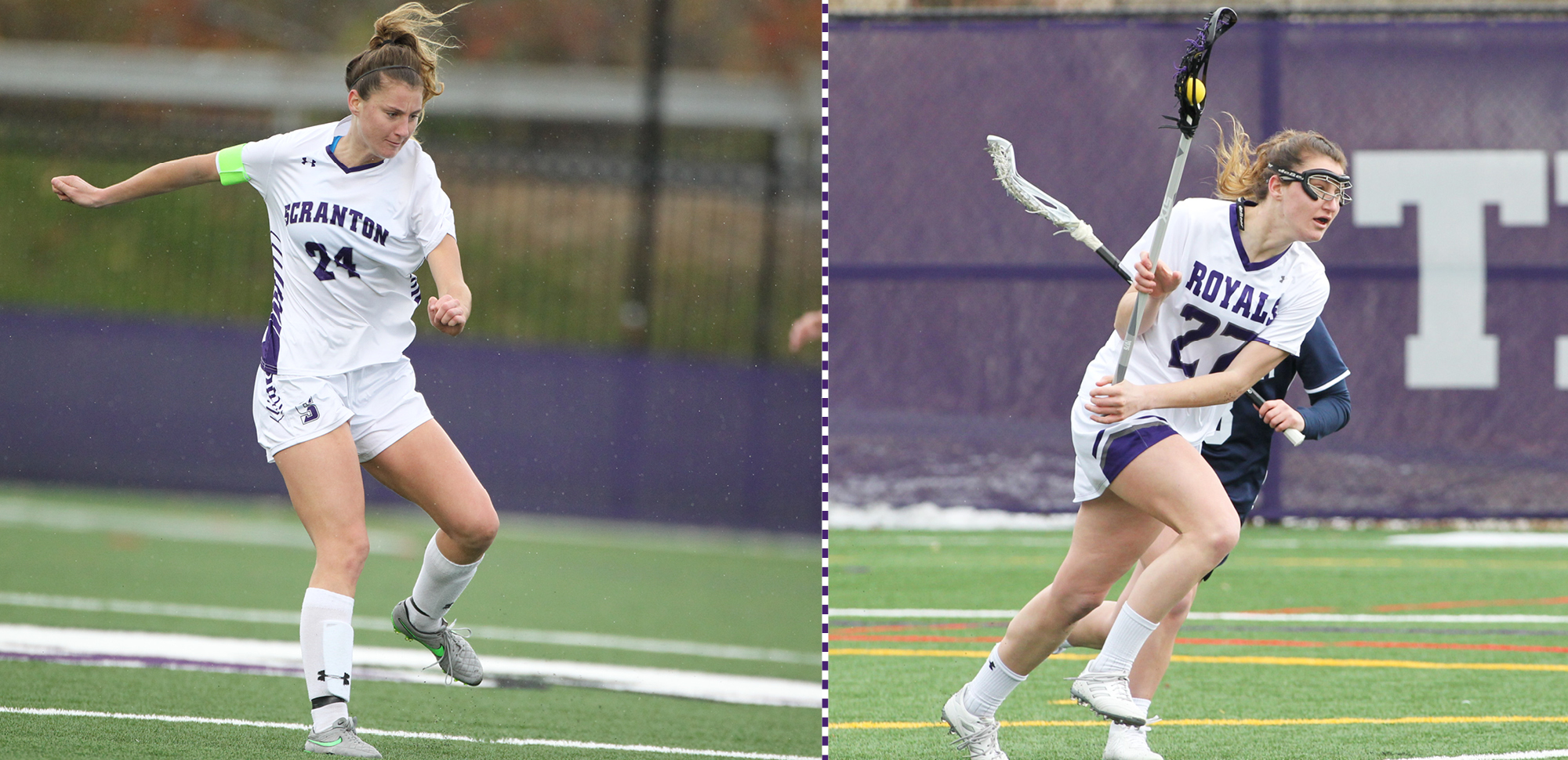 Senior Becca Russo became the first student-athlete in Scranton history to earn All-American honors in two sports in 2018-19. © Photos by Timothy R. Dougherty / doubleeaglephotography.com