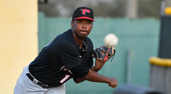 Chavez Fernander improved to 4-1 as the Eagles started Suncoast Conference play with a 13-2 win at St. Petersburg College. (Photo by Tom Hagerty, Polk State.)