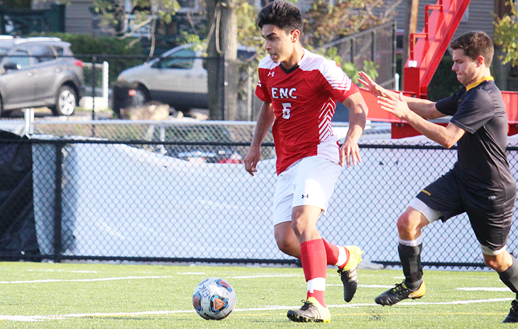 Arboleda's Golden Goal Lifts Men's Soccer to 3-2 OT Victory at Mitchell in NECC Debut