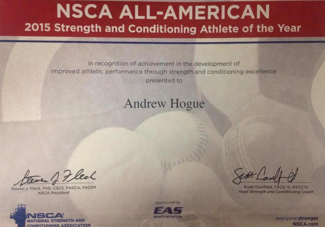 Hogue Named 2015 NSCA All-American Athlete