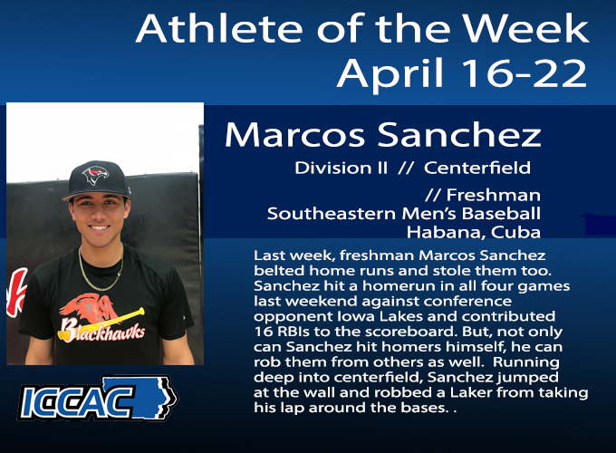 Sanchez Receives Conference Athlete of the Week