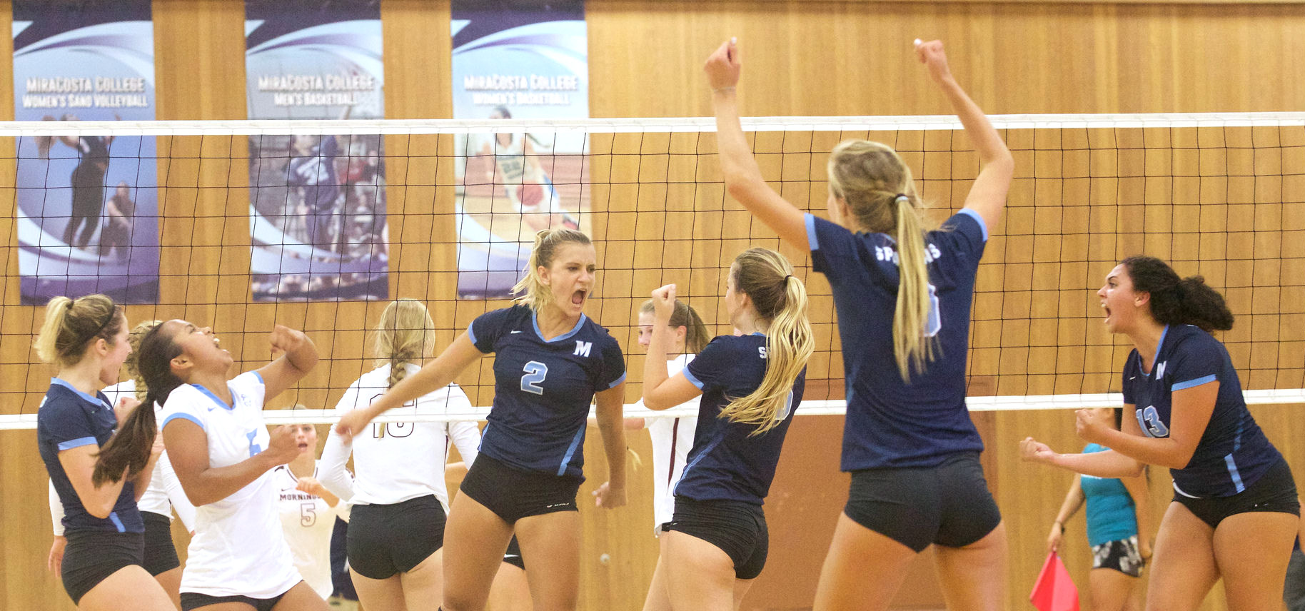 Women's volleyball team celebrating a point.