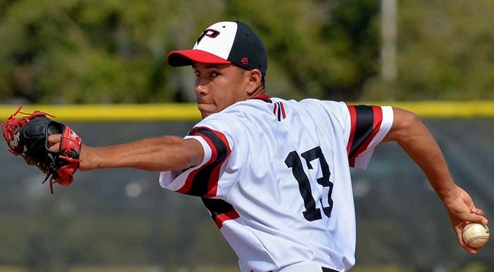 Maikor Mora pitched nine shutout innings against Hillsborough. (Photo by Tom Hagerty, Polk State.)
