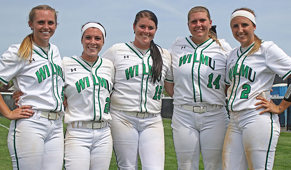 Copyright 2017; Wilmington University. All rights reserved. Photo of the Wildcat seniors (left to right): Meghan Brown, Becca Stanley, Colby Wyatt, Brooklyn Lachette, and Kaitlyn Slater. Photo by Frank Stallworth.