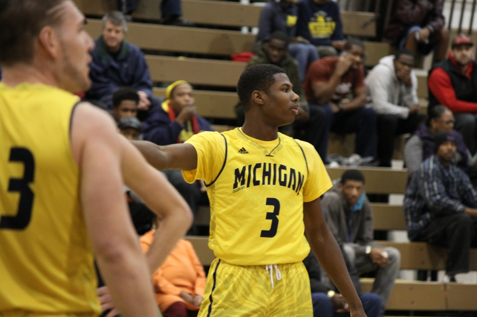 Freshman Xavier Corfford looks for the play to call; Photo courtesy of Erick Lehman of the Michigan Journal