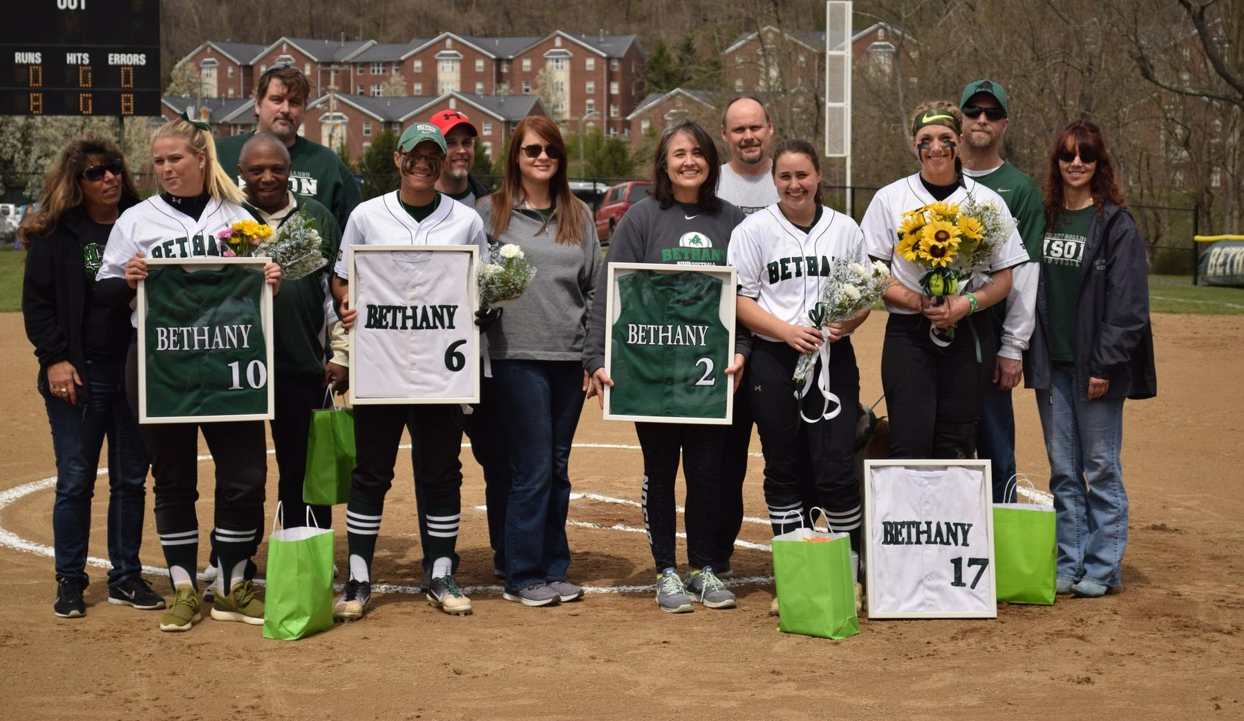 Softball claims split with Westminster on Senior Day