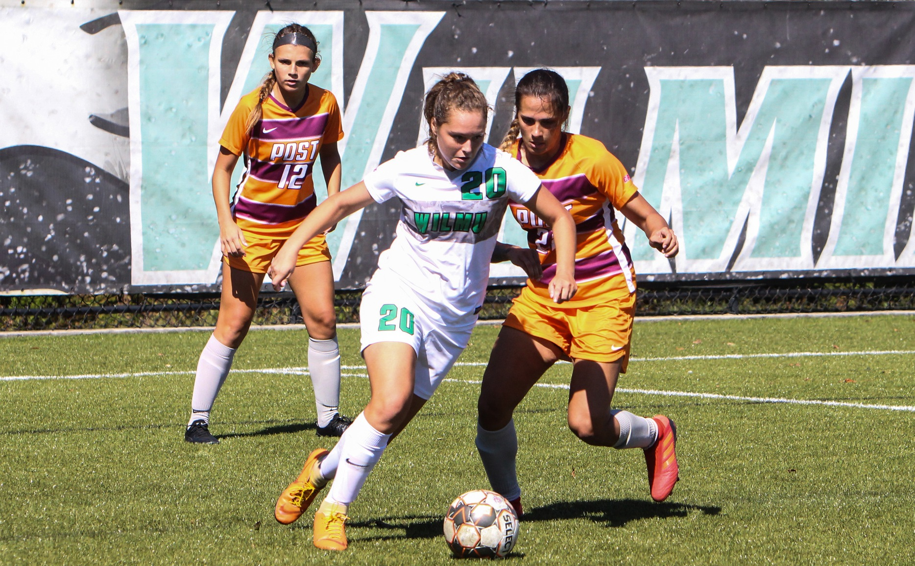 Wilmington University Samantha Emma (20) battles against Post University players during their NCAA soccer match at the Wilmington University sports complex in Newark, Delaware October 5, 2019 Photo by Julius Mickens.
