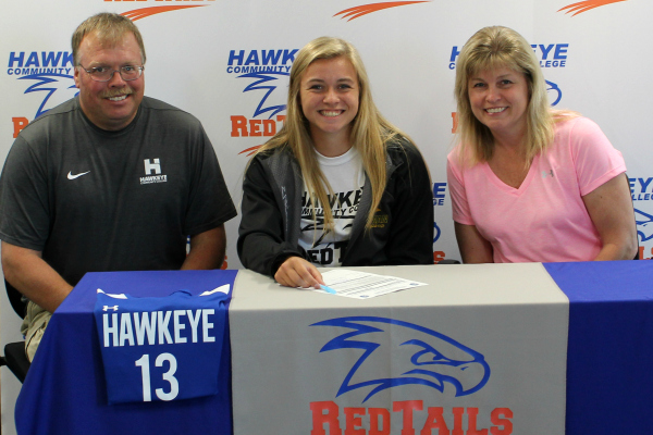 Hawkeye Redtails Women's Soccer recruit Jennifer Wessels (center) with parents Joe and Kathy Wessels.