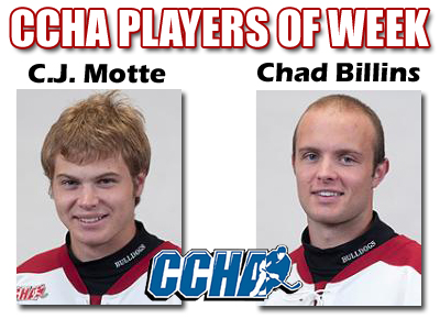 Billins & Motte Earn CCHA Honors This Week