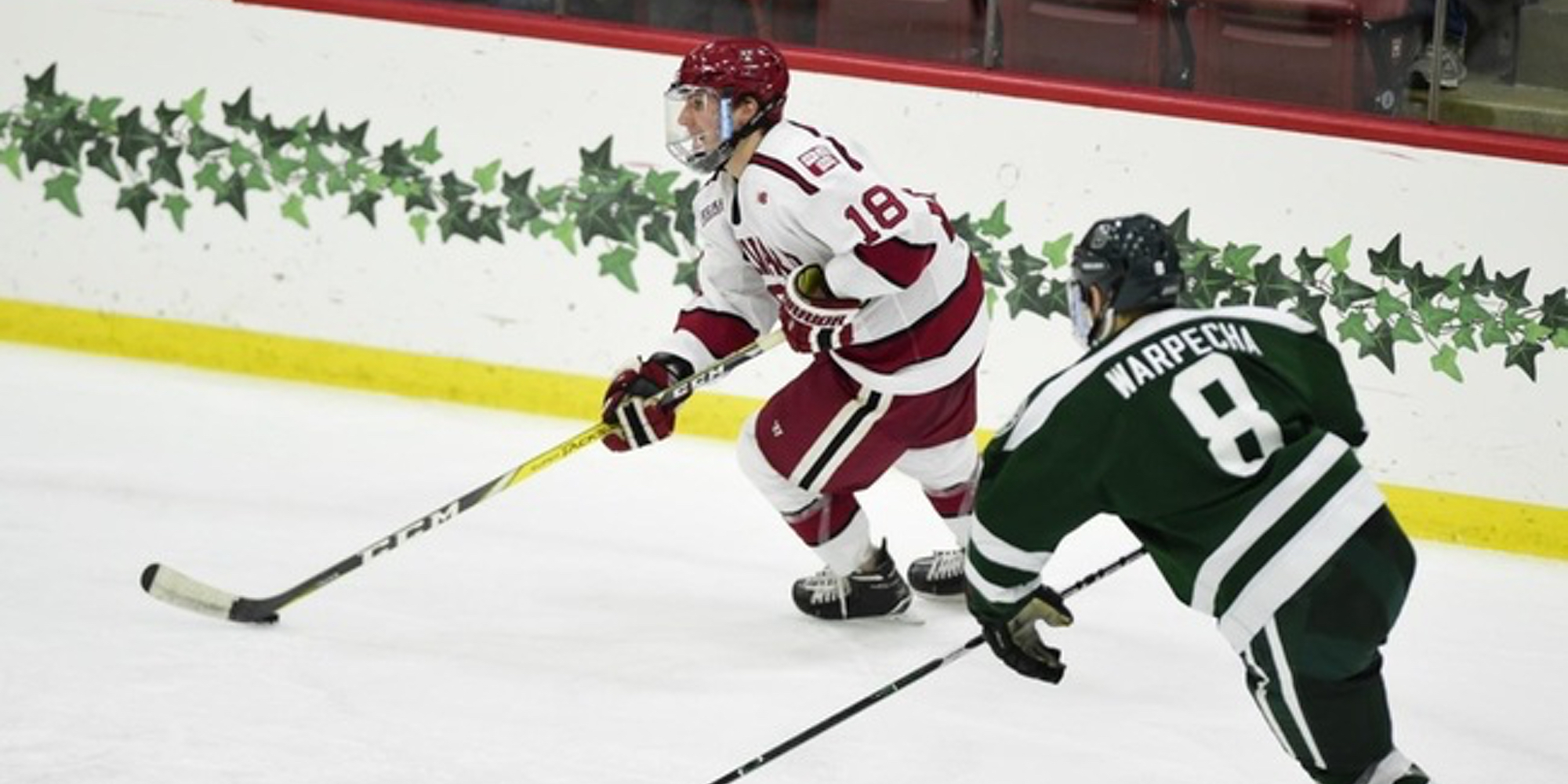 Sophomore defenseman Adam Fox had two goals and two assists in Harvard's 7-1 win over Dartmouth. (Gil Talbot)
