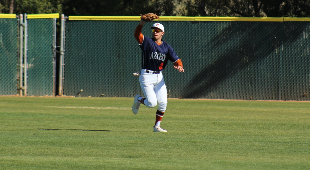 Freshman Matthew Hackman (Empire HS) had an RBI and a run scored on the day but the Aztecs baseball team dropped two games at GateWay Community College. The Aztecs are 14-12 overall and 6-10 in ACCAC conference play. Photo by Rene Escobar/AztecPress