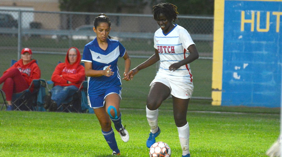 Naomi Waithira had a goal and two assists in Hutchinson's 4-1 Jayhawk West victory over Hesston College on Saturday. (Bre Rogers/Blue Dragon Sports Information)