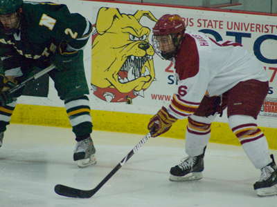 Casey Haines and the Ferris State Bulldogs drop 4-0 home decision to Northern Michigan.  (Photo by Joe Gorby)