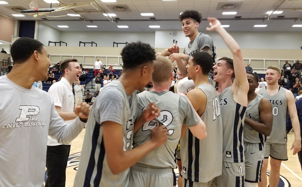 Sophomore Abram Carrasco (Cholla HS) broke the Pima all-time career scoring record after he scored 12 points in Pima's 101-77 win over Glendale Community College in the Region I, Division II semifinals. He broke Greg Cook's record set in 1980 of 1,240 points. Carrasco now has 1,241. The Aztecs play Scottsdale Community College in the finals on Friday at 7:00 p.m. Photo by Raymond Suarez