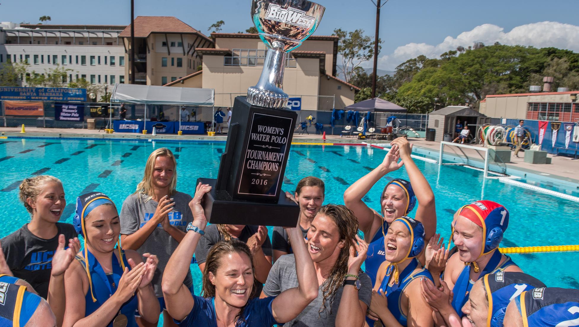 Gauchos Celebrate with Big West Championship Trophy (Photo by Tony Mastres)