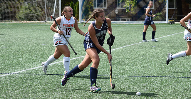 Erica Heaney '21 drives towards the the net against William Paterson on John Makuvek Field.