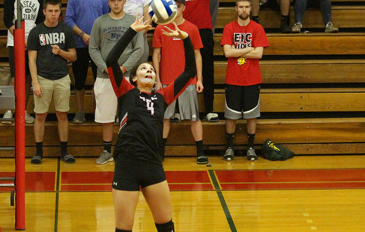 Aguilar's Triple-Double Leads Women's Volleyball to 3-0 Victory at Becker