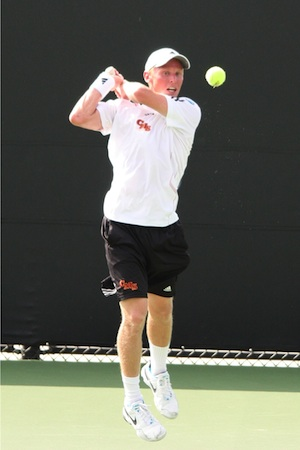 Singles Champ Alex Lane Rips a Backhand