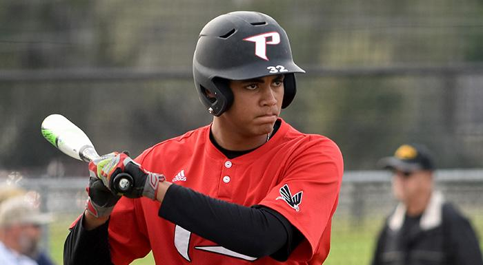 Isaiah Cullum walked twice and scored a run today against Palm Beach. (Photo by Tom Hagerty, Polk State.)