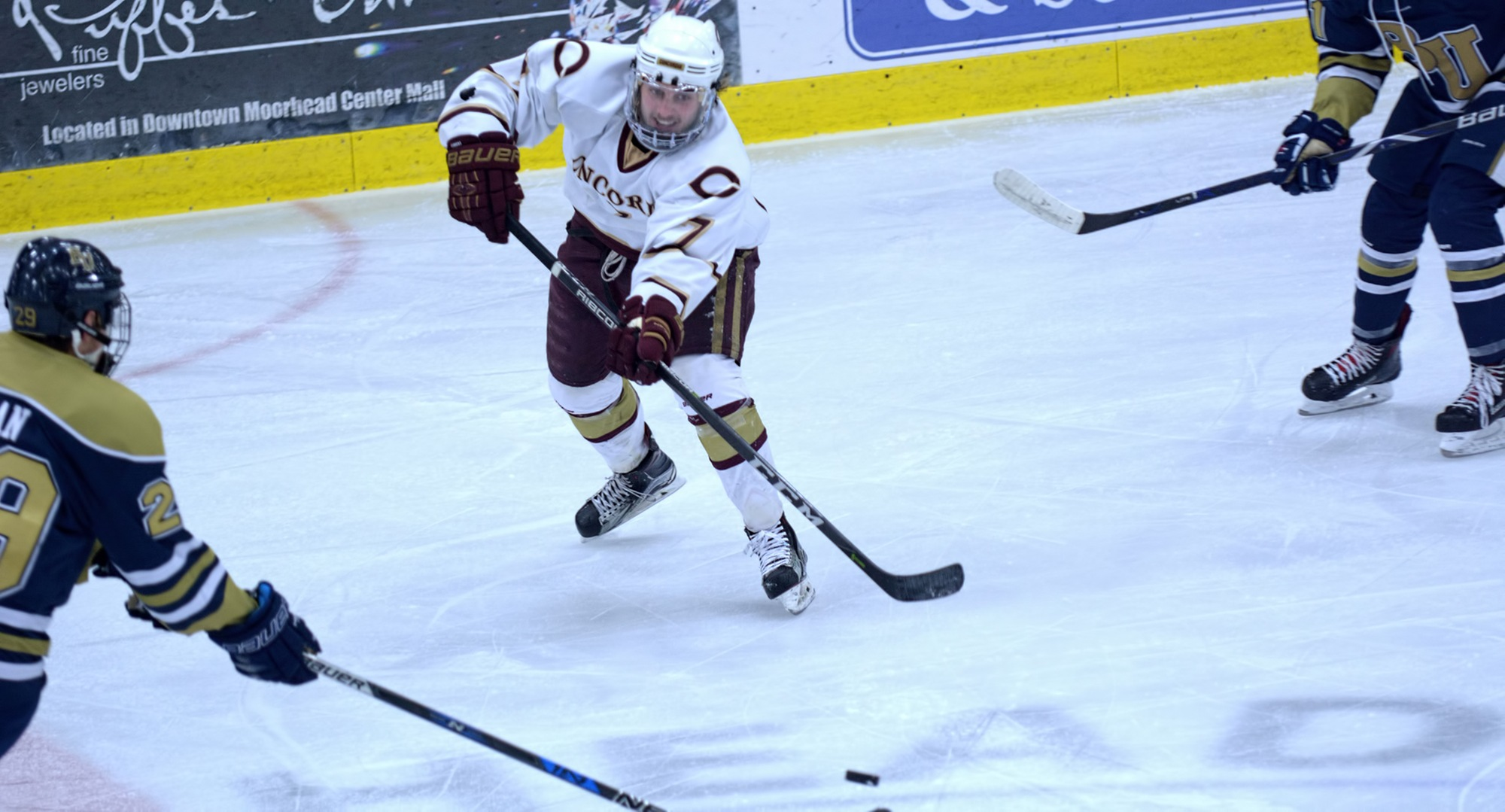 Joe Burgmeier had a game-high five shots on goal in the Cobbers' series finale at St. Olaf.