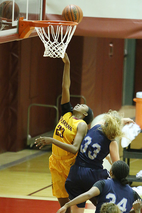 Dariel Johnson in a file photo from her PCC debut in 2014. Johnson has returned to the Lancers as the team's starting center in the 2018-19 season.