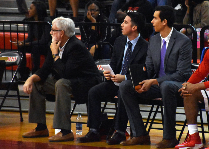 Huntingdon head men's basketball coach Mike Pugh (left) officially announced his retirement on Friday morning. Associate head coach Caleb Kimbrough (center) replaces Pugh as head coach and will be assisted by Ben Strong (right).
