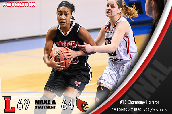 Women's Advances to Second Round, Defeating Catholic, 69-64