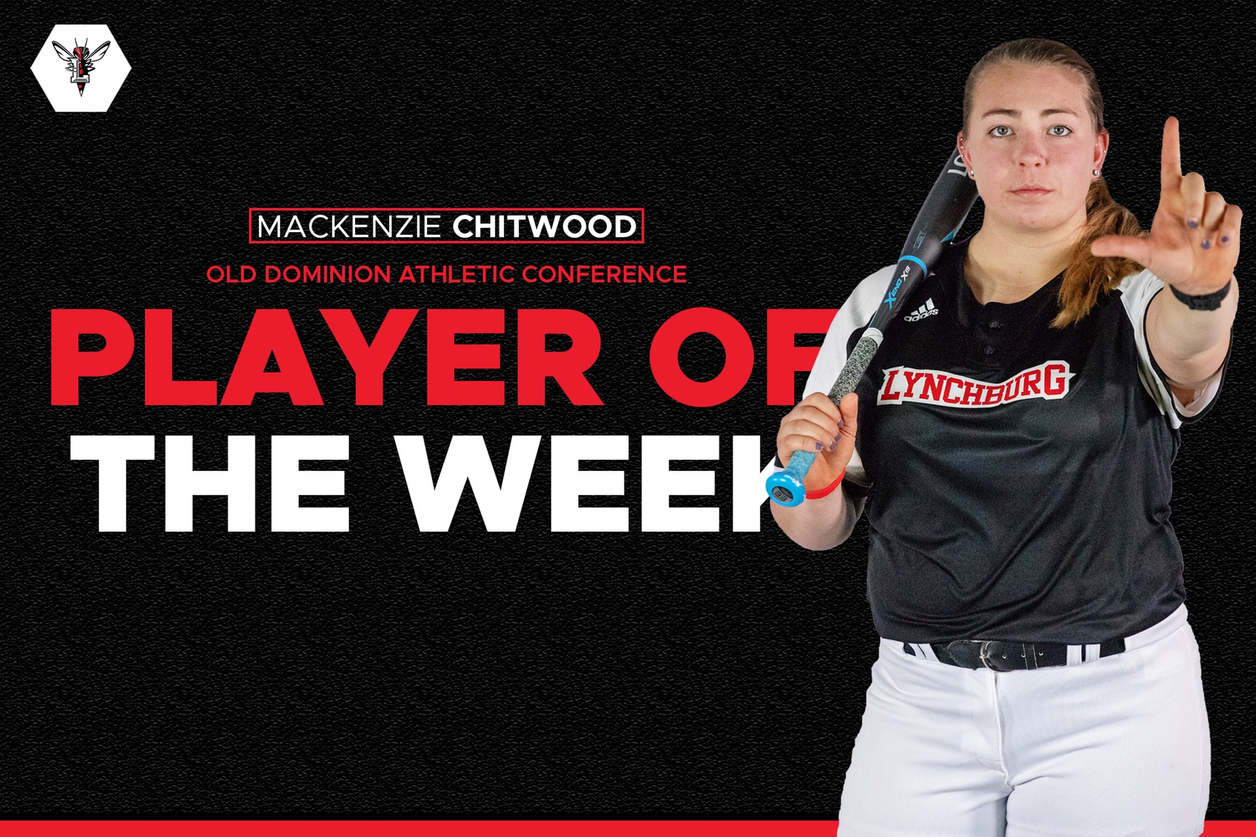 Mackenzie Chitwood posing with bat on her shoulder on black player of the week background