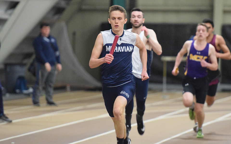 Junior Evan Lutz runs in the 4x400-meter relay during the Moravian Indoor Invitational at Lehigh University.