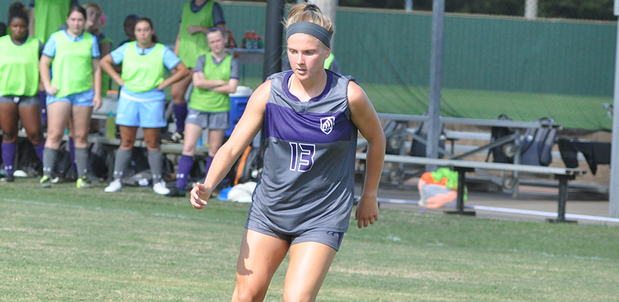 Rebecca Peterson recorded three assists in a 5-0 win over MacMurray College Saturday.