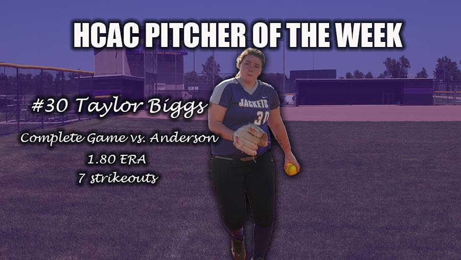 Biggs Named the HCAC Pitcher of the Week