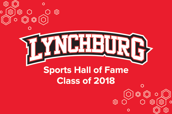 Red background with white honeycomb effect in corners. Text: Lynchburg Sports Hall of Fame Class of 2018