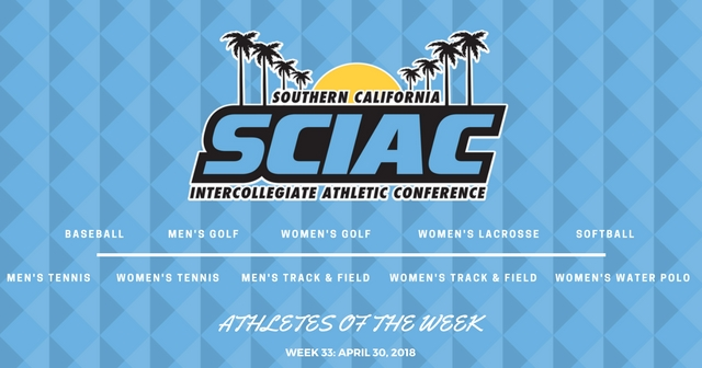 SCIAC Athletes of the Week: April 30, 2018