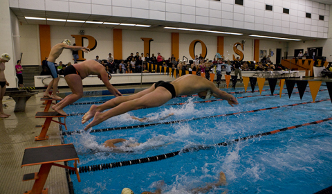 Swimming takes six races in dual meet against Loggers.