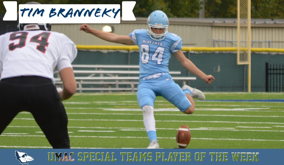 Branneky Named UMAC Special Teams Player of the Week