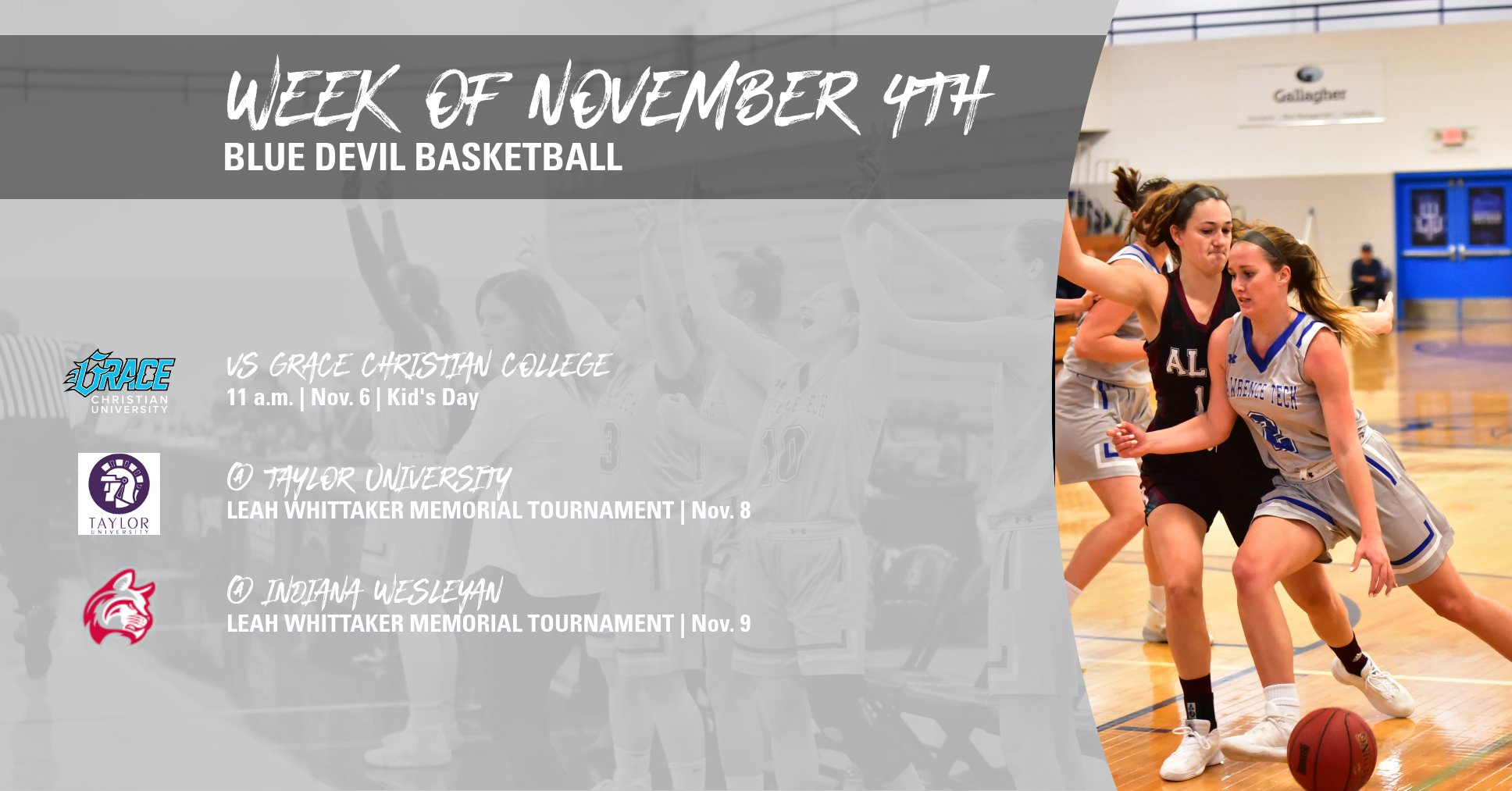 Blue Devils Play Three Games This Week; LTU Hosts Kid's Day Versus Grace Christian on November 6th