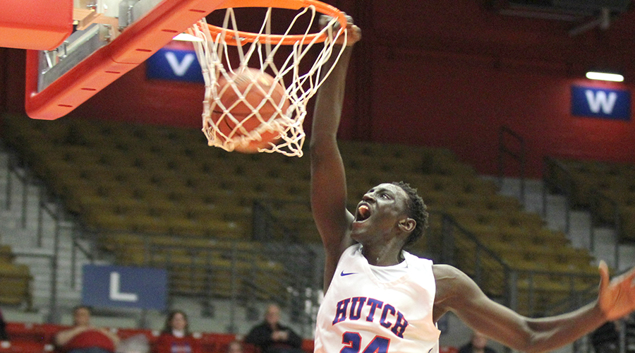 Majok Kuath dunks for two of his game-high 28 points in No. 25 Hutchinson's 88-79 Jayhawk West win over Northwest Tech on Monday night at the Sports Arena. (Bre Rogers/Blue Dragon Sports Information)