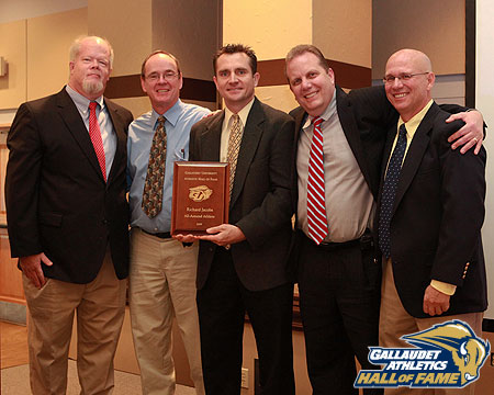 Richard Jacobs (center) with coaches Thomas Withrow, Vance Rewolinski, Jimmy DeStefano and Richard Pelletier at GU Hall of Fame Induction Ceremony.