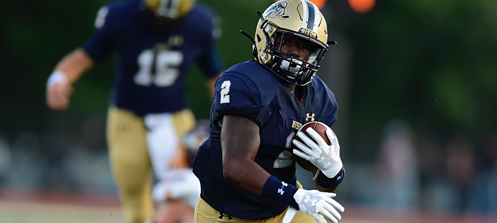 Gallaudet football running back RJ Randle rushes the ball down the field.
