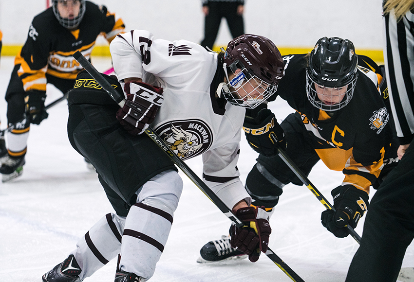 Chantal Ricker squares off against Olds during a game earlier this season. She was a big factor in MacEwan's 3-0 win over the Broncos on Thursday night, potting a goal and an assist (Matthew Jacula photo).